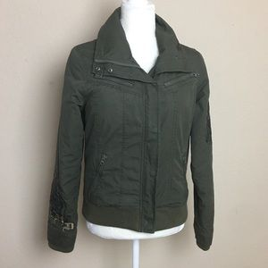Harley Davidson Army Green Cotton Utility Jacket